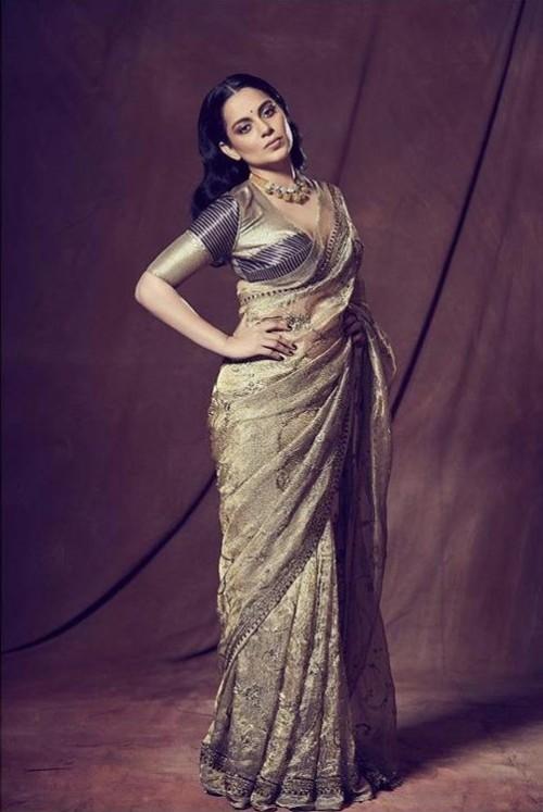 Yay or nay? Kangana Ranaut wearing a Good earth saree at the promotions of Panga - SeenIt