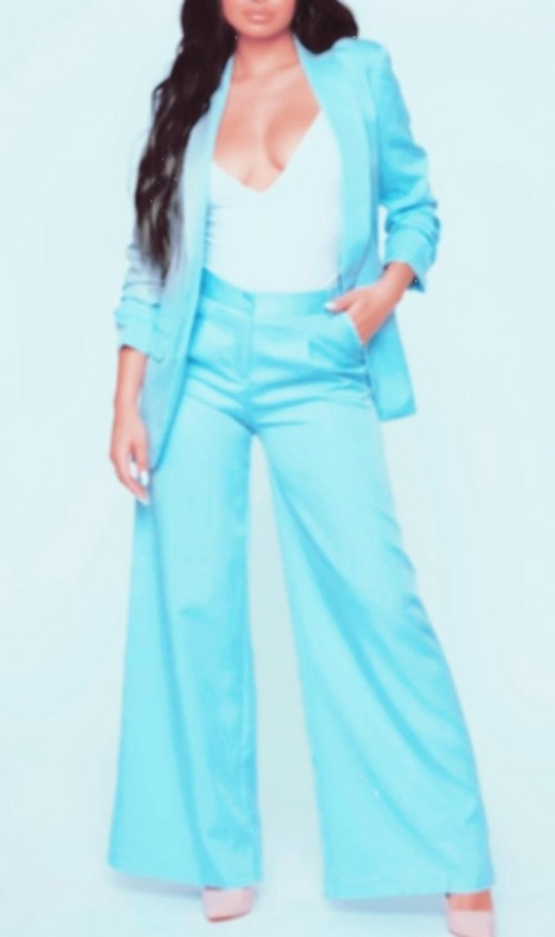 I need a pants and blazer set in this baby blue colour! can someone help me out? - SeenIt