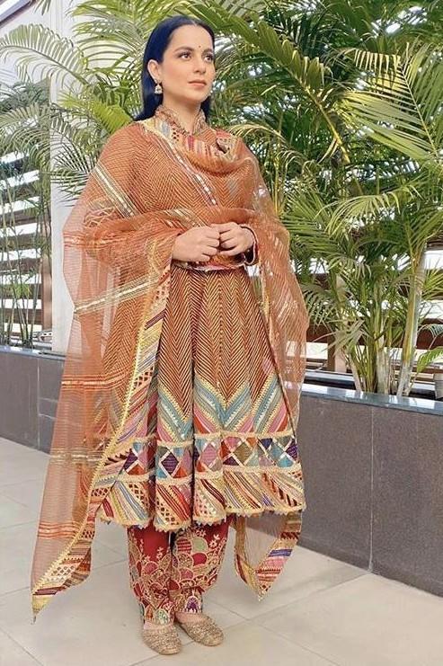 Yay or nay? Kangana Ranaut wearing a Rimple and Harpreet Narula outfit at the promotions of Panga - SeenIt