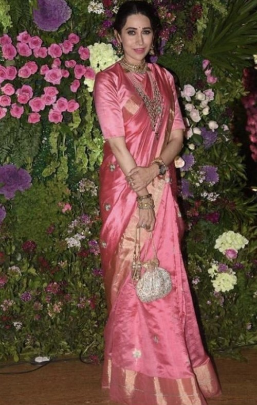 Yay or nay? Karisma Kapoor attends the Armaan jain wedding wearing a silk saree - SeenIt