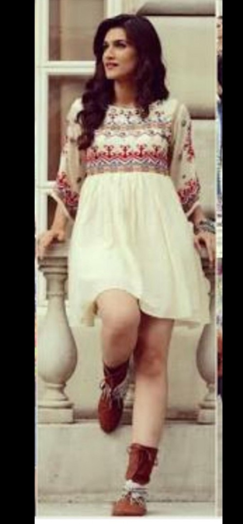 this floral dress and the footwear which kriti sanon is wearing - SeenIt