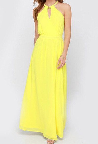 Please help me get something like this yellow halter neck maxi dress. - SeenIt