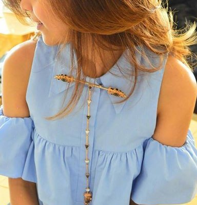 This cold shoulder blue shirt has been on my wishlist forever! - SeenIt