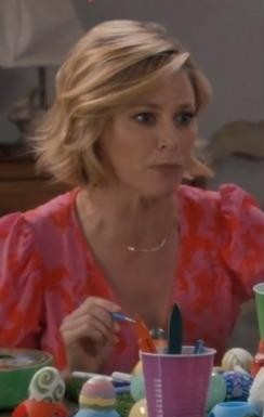 Looking for a similar pink printed midi dress online which claire is wearing in modern family - SeenIt
