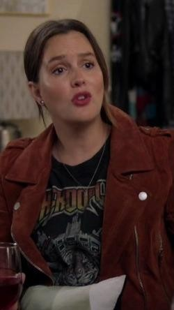 Help me find a similar tee and leather jacket like Angie's online - SeenIt