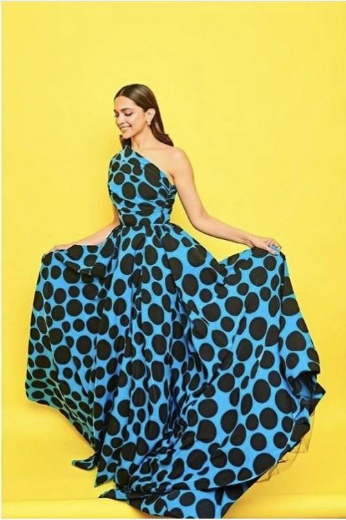 Yay or nay? Deepika Padukone wearing a black Nd blue polka dot printed dress - SeenIt