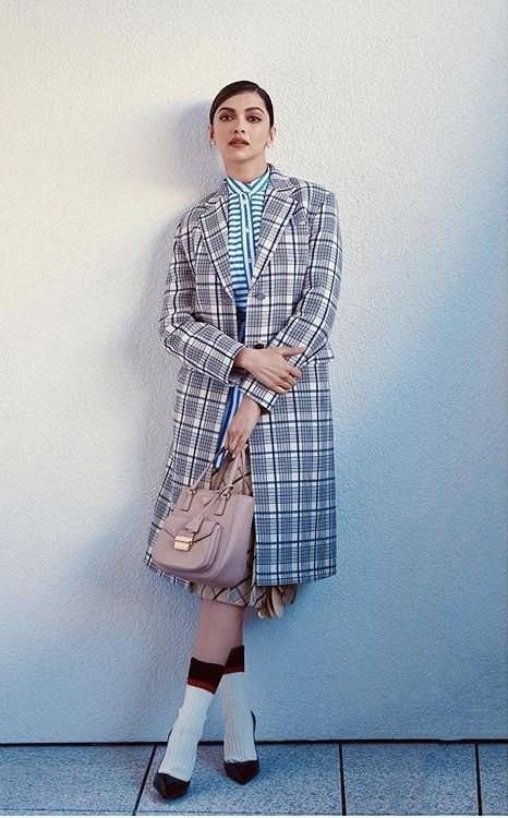 Yay or nay? Deepika Padukone wearing a checked long coat - SeenIt