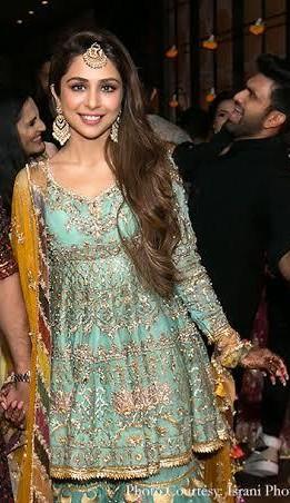 Where can I find this sharara worn by sonaakshi raaj on her wedding function designed by Mohsin Naveed Ranjha - SeenIt