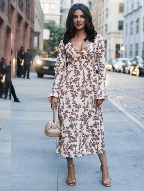 Yay or nay? Priyanka Chopra spotted wearing a floral midi dress - SeenIt