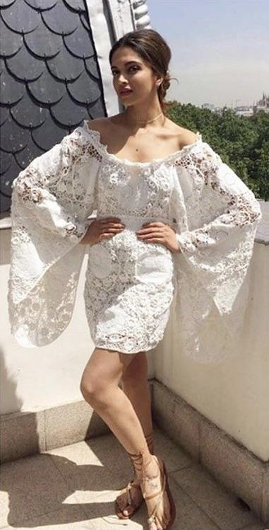 Yay or nay? Deepika Padukone Spotted wearing a white off shoulder with huge sleeves  outfit recently - SeenIt