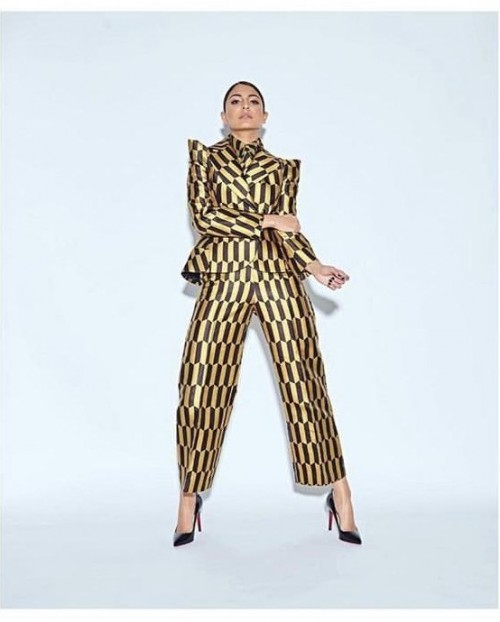 Yay or nay? Anushka Sharma wearing a striped pant suit - SeenIt
