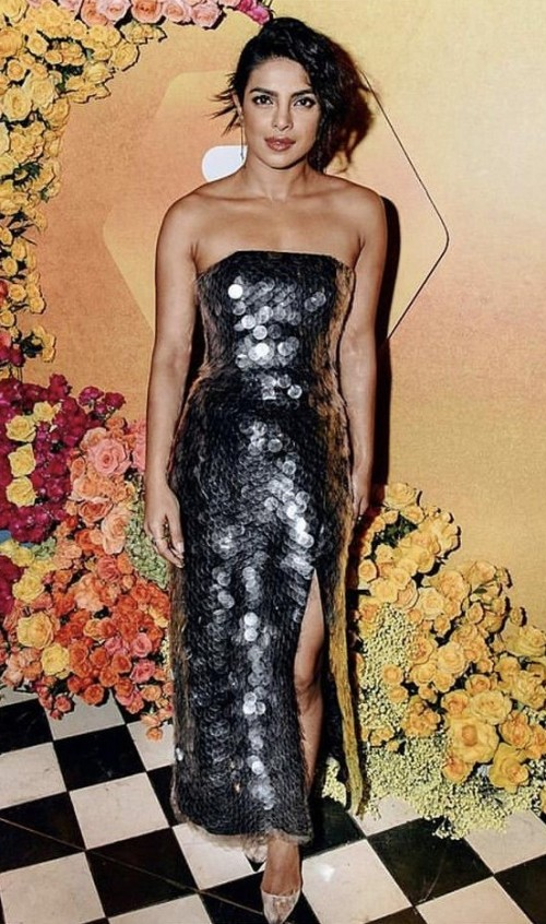 Yay or nay? Priyanka Chopra Spotted wearing a strapless sequin slit outfit - SeenIt