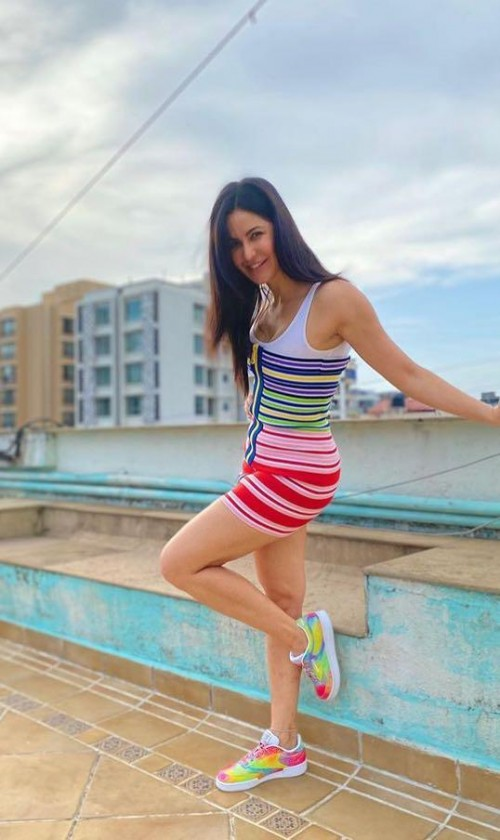 Yay or nay? Katrina Kaif spotted wearing a striped bodycon dress - SeenIt