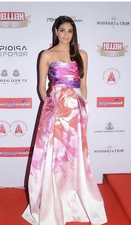 Yay or nay? Athiya Shetty wearing a floral print strapless gown - SeenIt