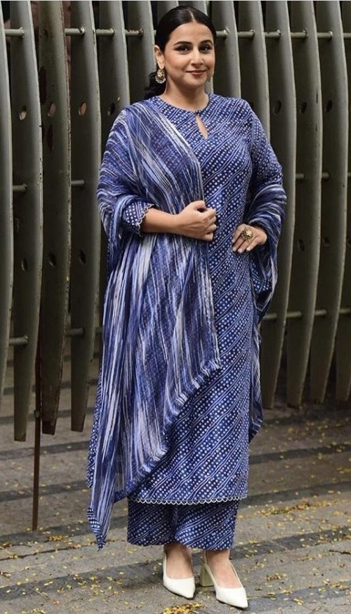 Yay or nay? Vidya Balan seen wearing a blue trouser suit at the E-promotions Of ShakuntalaDevi - SeenIt