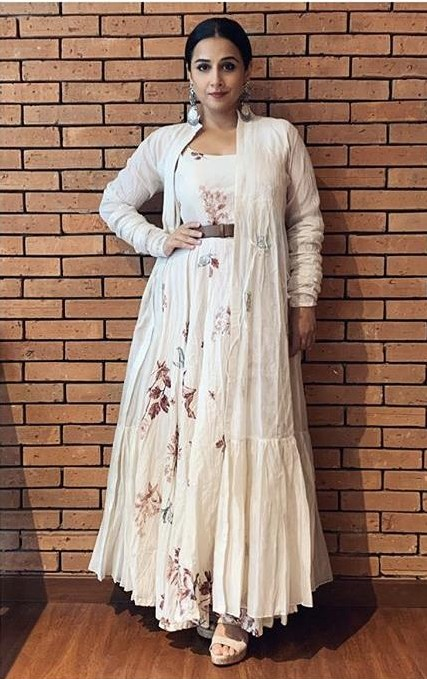 Yay or nay? Vidya Balan wearing a white embroidered Parma by Pratima outfit at the E-promotions of ShakuntalaDevi - SeenIt