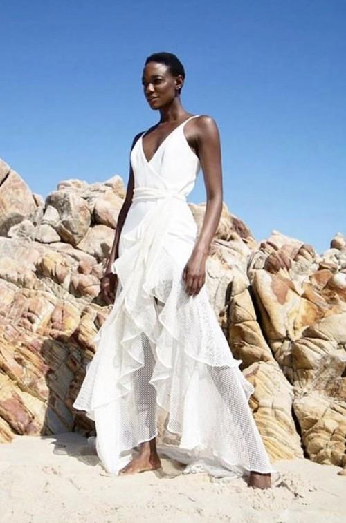 Want that white asymmetric ruffle dress please - SeenIt