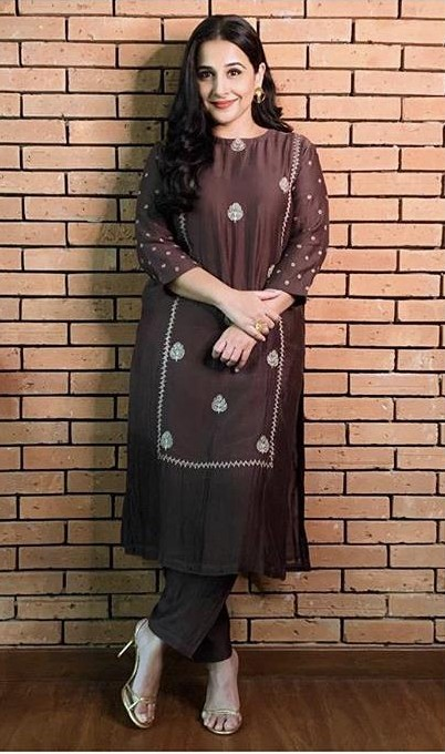 Looking for a similar kurta set like Vidya Balan is wearing at the E-promotions of ShakuntalaDevi - SeenIt