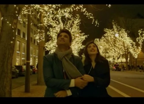 Looking for a similar grey scarf like Sushant is wearing and Sanjana's black blazer from the movie - SeenIt