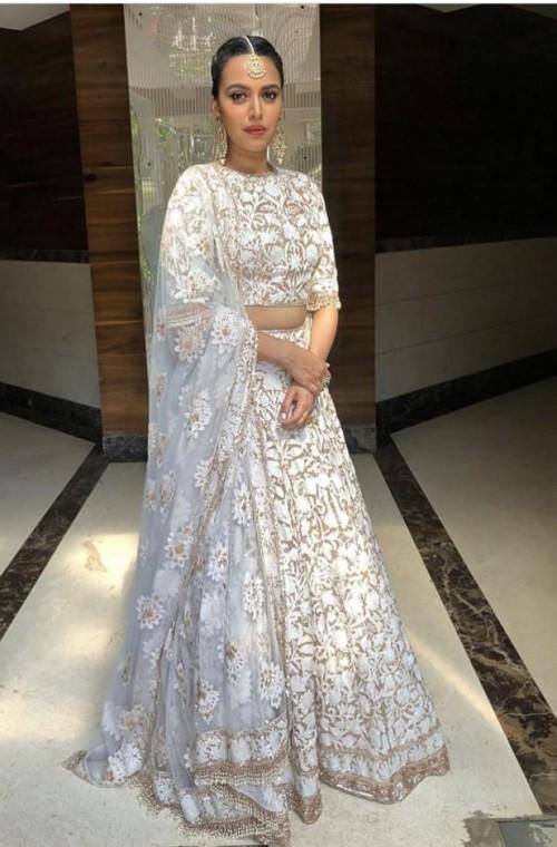 Yay or nay? Swara Bhaskar wearing a white embroidered lehenga - SeenIt