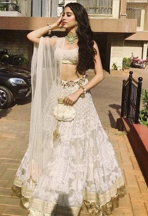 Yay or nay? Jhanvi Kapoor spotted wearing an ivory and gold lehenga - SeenIt