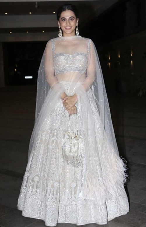 Yay or nay? Taapsee Pannu spotted wearing a white and silver embroidered lehenga - SeenIt