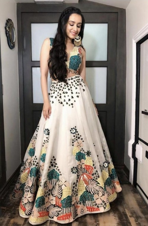 Yay or nay? Shraddha a Kapoor spotted wearing a white colourful lehenga outfit - SeenIt