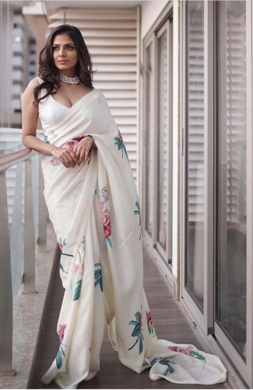 Find me a similar white saree please - SeenIt