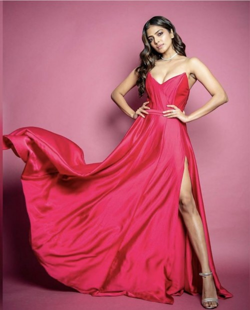 Yay or nay? Malavika Mohana wearing a red strapless slit gown - SeenIt
