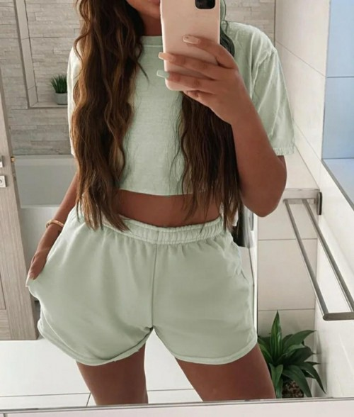 I'm looking for a similar pale sage green crop top t-shirt and shorts set but in a nicer fabric? - SeenIt
