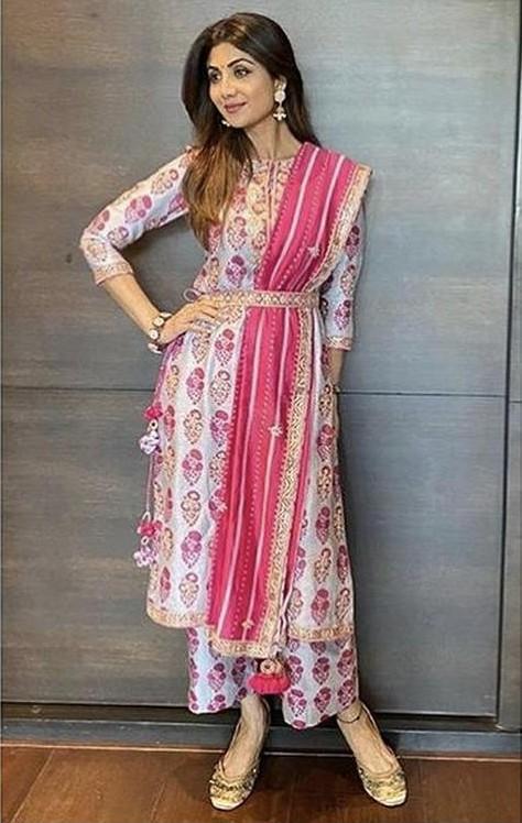 Yay or nay? Shilpa Shetty wearing a Punit Balana outfit at the Ganpati celebrations - SeenIt