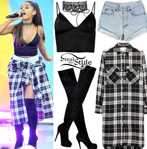 need a similar black and white plaid long shirt with denim shorts and the over the knee black boots with a black bustier top - SeenIt