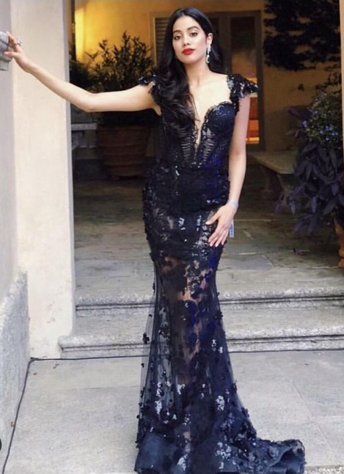 Yay or nay? Jhanvi Kapoor wearing a black lace plunge neckline gown - SeenIt