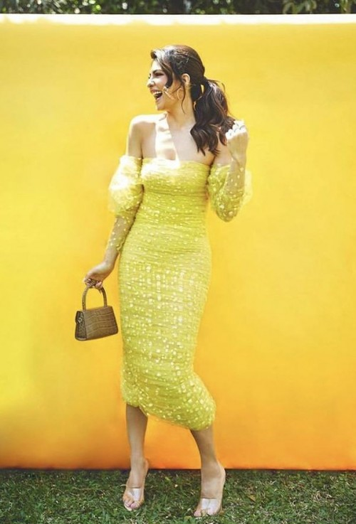 Yay or nay? Jacqueline Fernandez wearing a yellow off shoulder bodycon dress - SeenIt