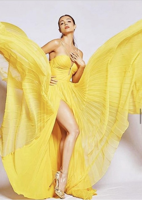 Help me find a similar yellow gown like Malaika a Arora is wearing - SeenIt