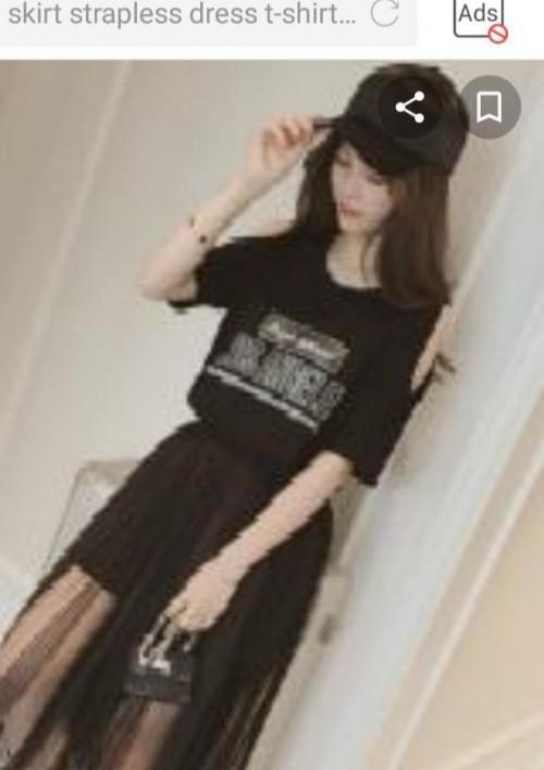 Set skirt strapless dress T-shirt - SeenIt
