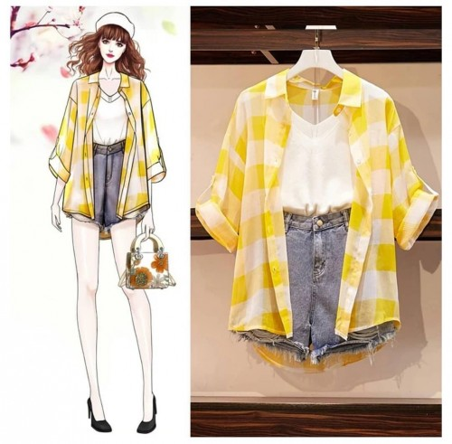 looking for the same outfit with yellow shirt and shorts with the white T-shirt - SeenIt