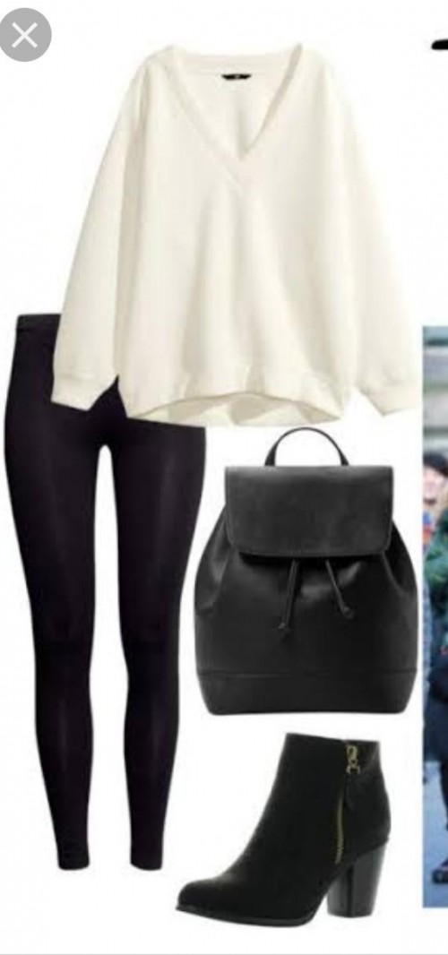 looking for same white sweater with black tight fit pants with boots and bag - SeenIt