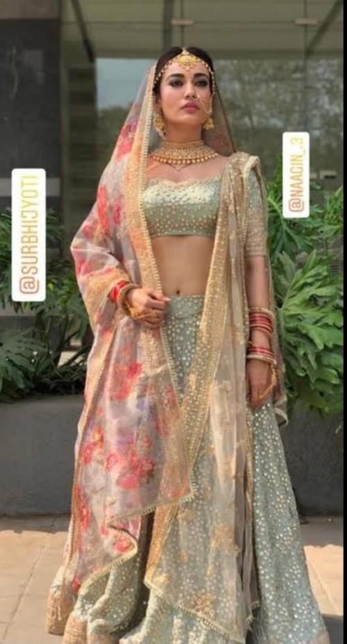 I'm looking for this similar Leghanga which surbhi jyoti wearing - SeenIt
