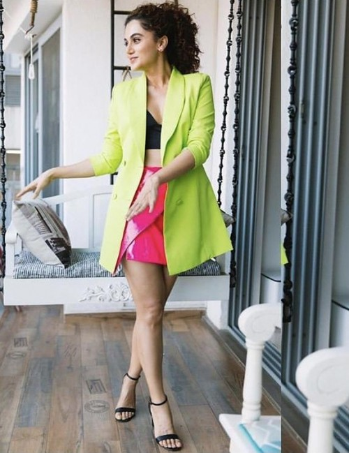 Looking for a similar long neon blazer like Taapsee a Pannu  is seen wearing - SeenIt