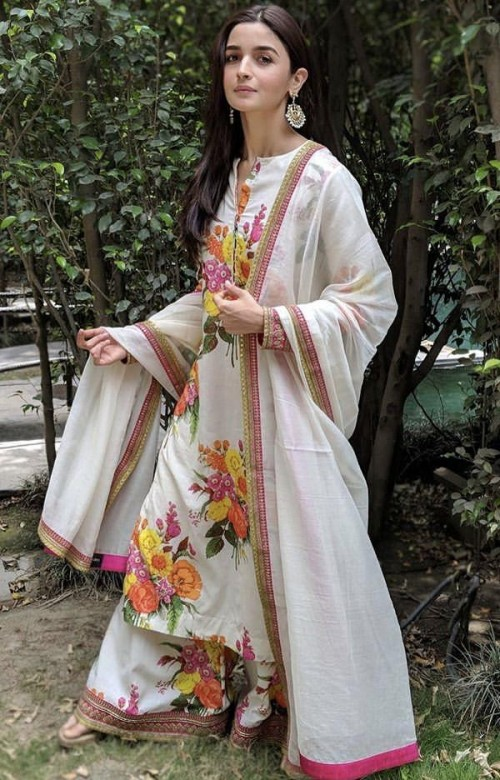 Looking for a similar white printed Sabyasachi style suit like Alia Bhatt is seen wearing - SeenIt