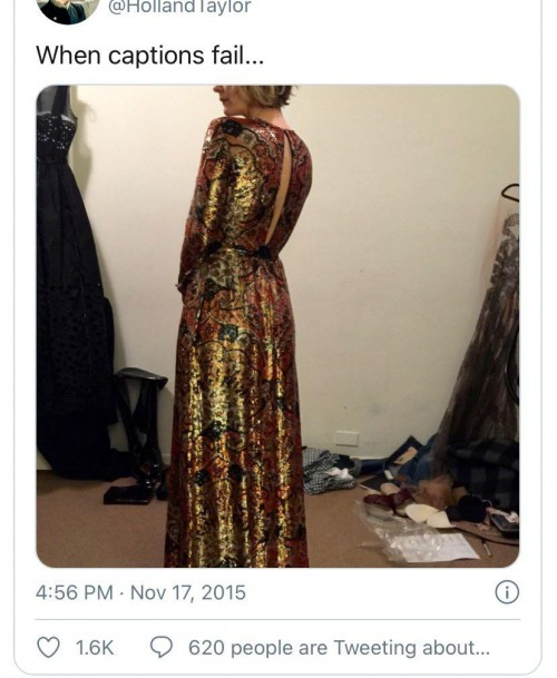 Anyone able to identify the designer of this dress shown on Sarah Paulson as tweeted by Holland Taylor? - SeenIt