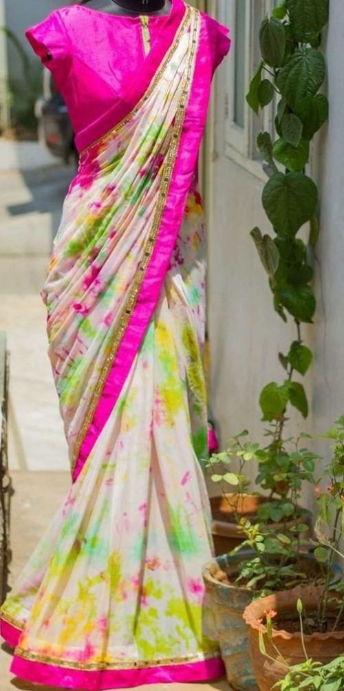 Looking for a similar floral hot pink saree! - SeenIt