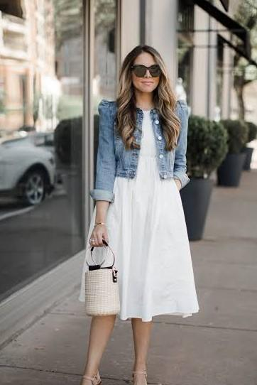 I need same frock and denim jacket like her - SeenIt