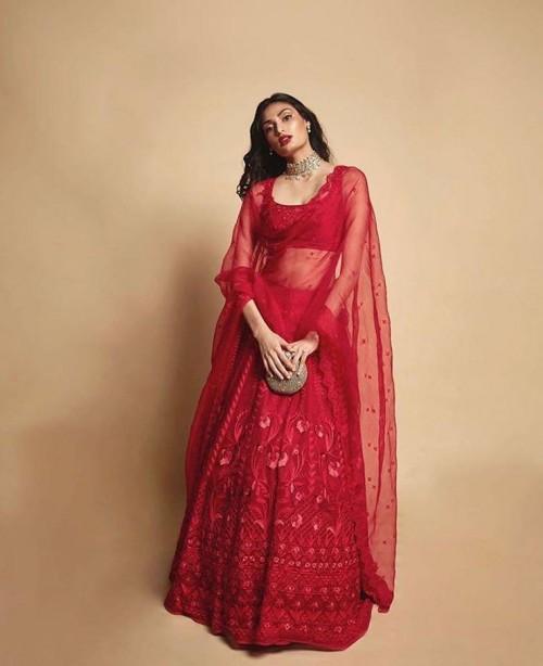 Yay or nay? Athiya Shetty seen wearing a red lehenga attire - SeenIt