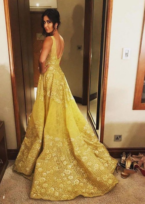 Yay or nay? Katrina Kaif seen wearing a golden embroidered trail gown recently - SeenIt