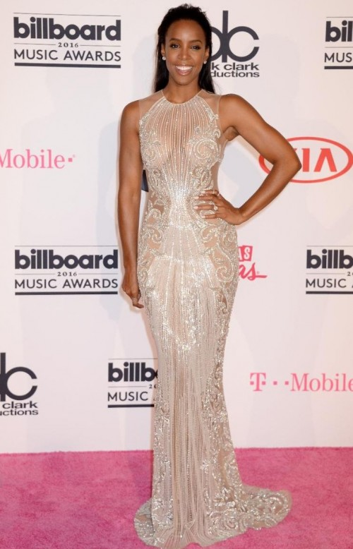 Kelly Rowland in a metallic semisheer Le Bourjoisie dress at the BBMAs - SeenIt