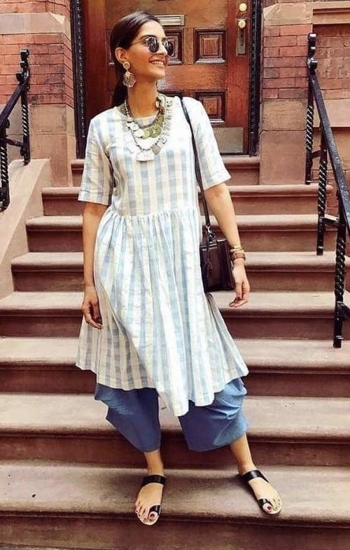 Help me look for a similar kurta like Sonam Kapoor is seen wearing - SeenIt