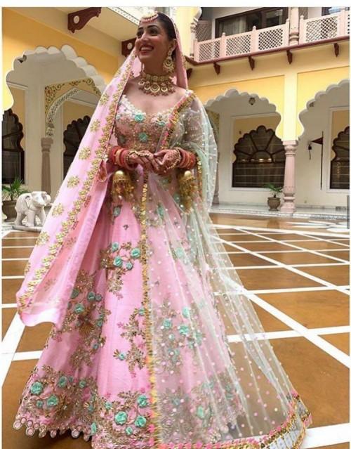 Help me find something similar like the pink lehenga Yami gautam is seen wearing in Ginny - SeenIt
