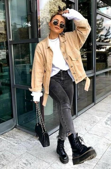 black jeans, dr martins, white shirt and jacket - SeenIt